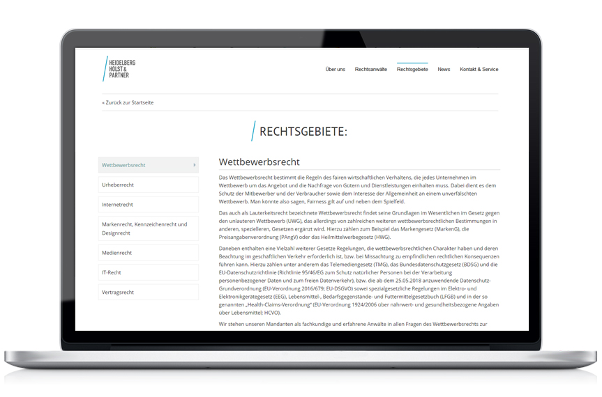 Webseite Heidelberg Holst & Partner