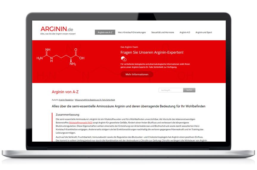 Webseite Arginin.de - Alles, was Sie über Arginin wissen müssen!